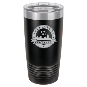 Polar Camel 20 oz. Ringneck Vacuum Insulated Tumbler w/Lid & Silver Ring Featuring the Alliance Logo Laser Engraved