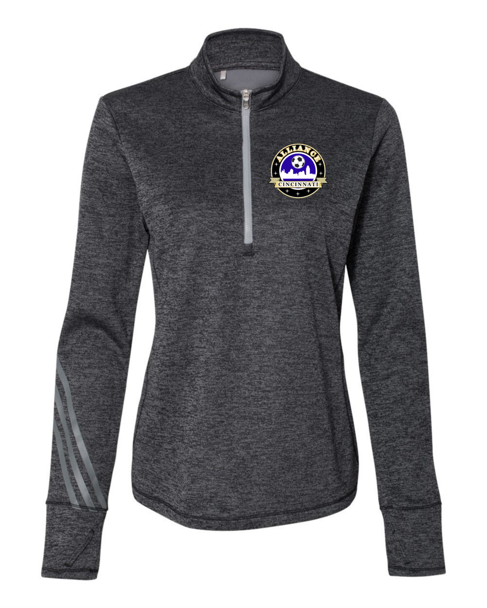 Adidas - Women's Brushed Terry Heathered Quarter-Zip Pullover