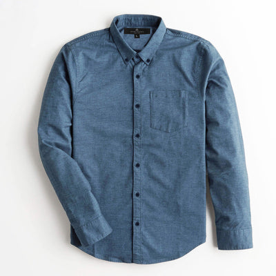 S/H Prime Blue Winter Solid Casual Shirt