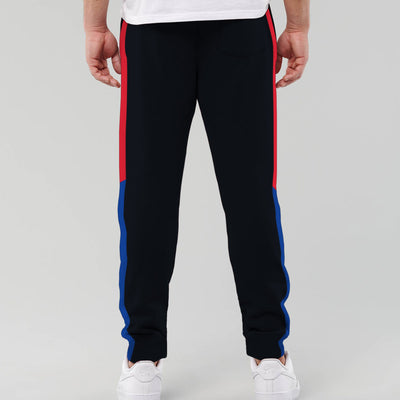 Sharp Navy Contrast Panel Trouser Men