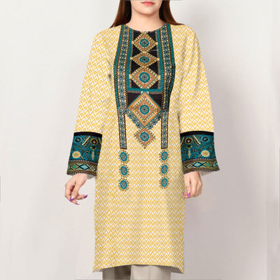 Women Long Style Embroidered Lawn Kurti