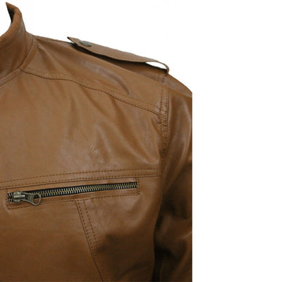 Men Slim Fit PU Leather Jacket B666 2