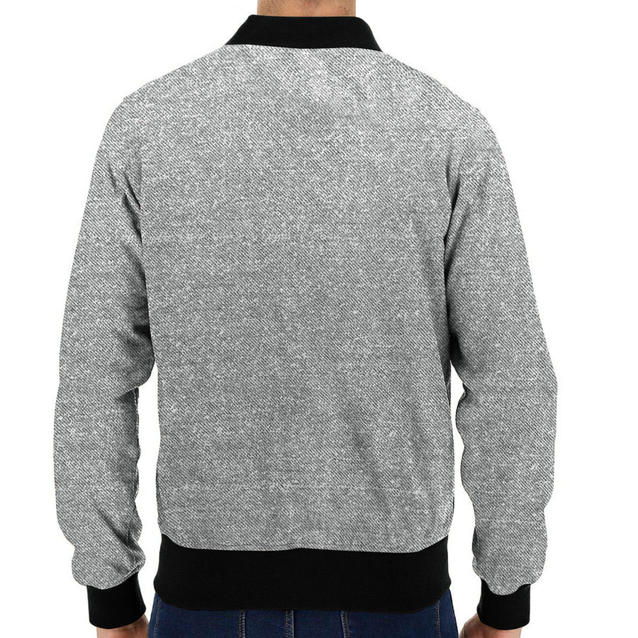 Elegant Textured Gray Fleece Jacket