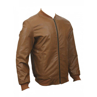 Men Slim Fit PU Leather Jacket BOOMBER