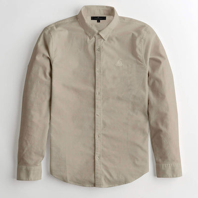 S/H SKIN BROWN SOLID CASUAL SHIRT