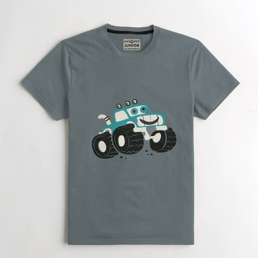 BOY'S UNIQUE PRINTED GRAY TEE SHIRT