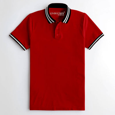 Elegant Red Tipping Polo Shirt For Men