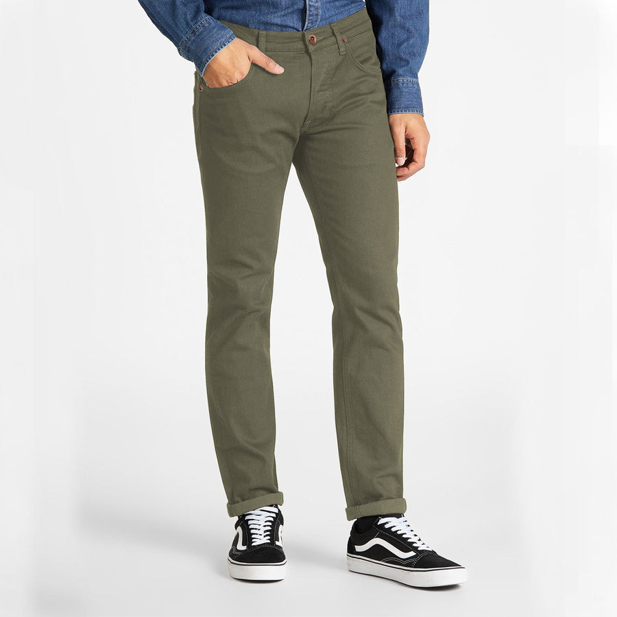 Stretchy & Narrow Men Olive Cotton Jeans