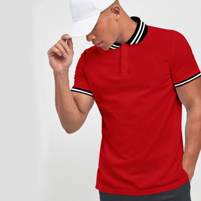 Elegant Red Tipping Polo Shirt