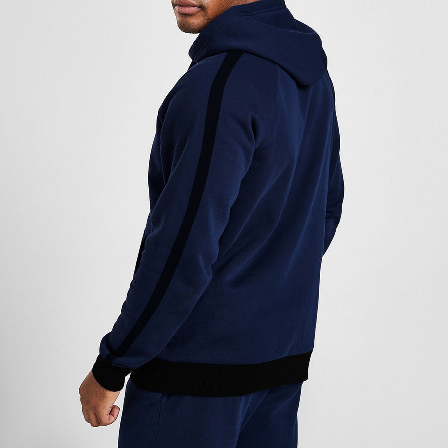 Men Designer Poly Fleece Navy Hoodie