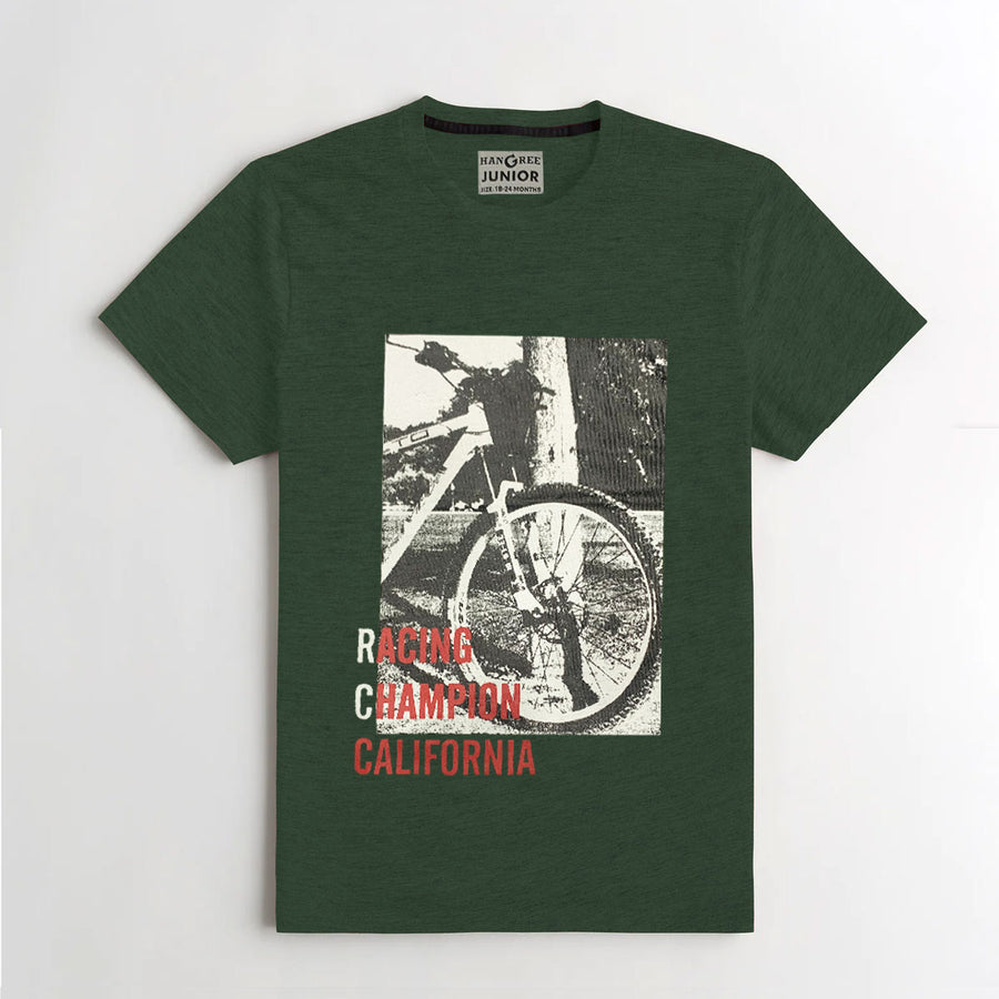 BOY'S UNIQUE PRINTED GREEN TEE SHIRT