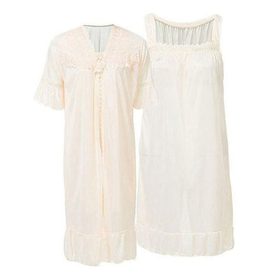 Espico Apricot Nylon Net Blossom Nightwear For Women Apricot