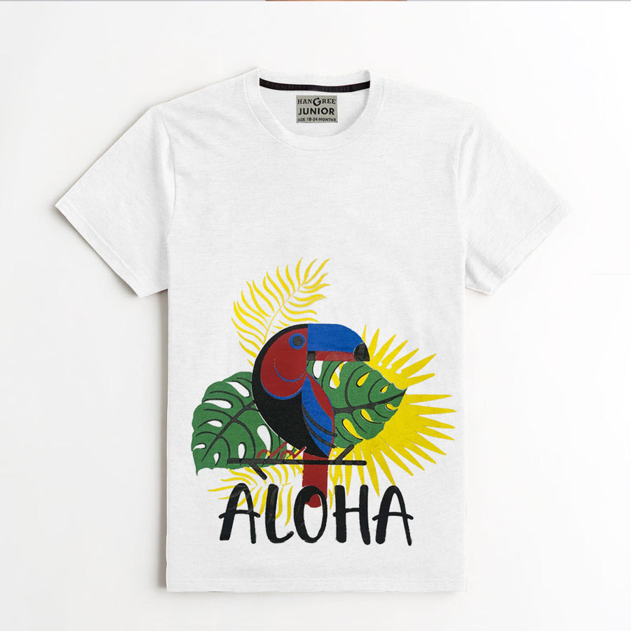 BOY'S UNIQUE PRINTED WHITE TEE SHIRT