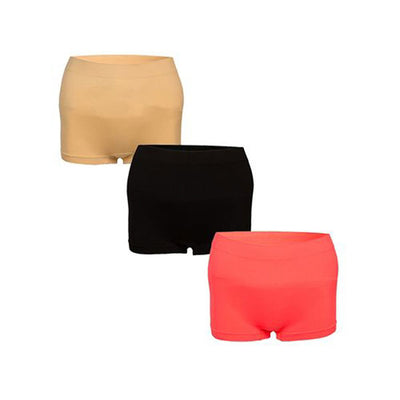 Espico Pack of 3 Stretchable Shorts for Women Skin, Peach & Black