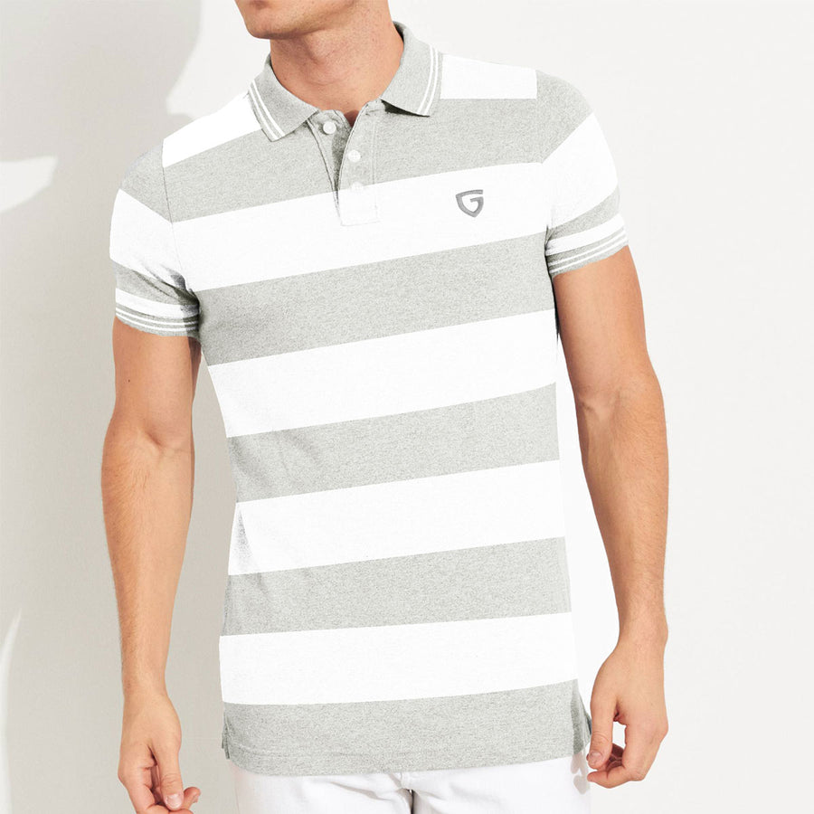 Gray White Strap Style Tipping Polo Shirt