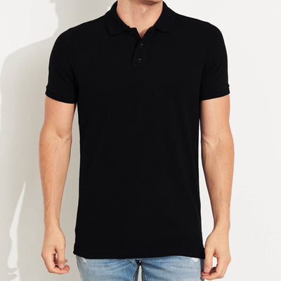 Precious Black Solid Polo Shirt