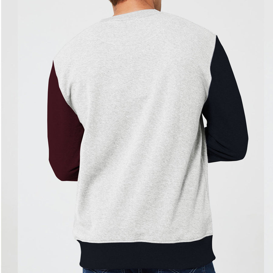 LAST TRAIN EMBROIDERED CONTRAST SLEEVES SWEAT SHIRT