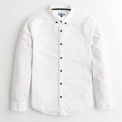 Super white Self Cotton Casual Shirt