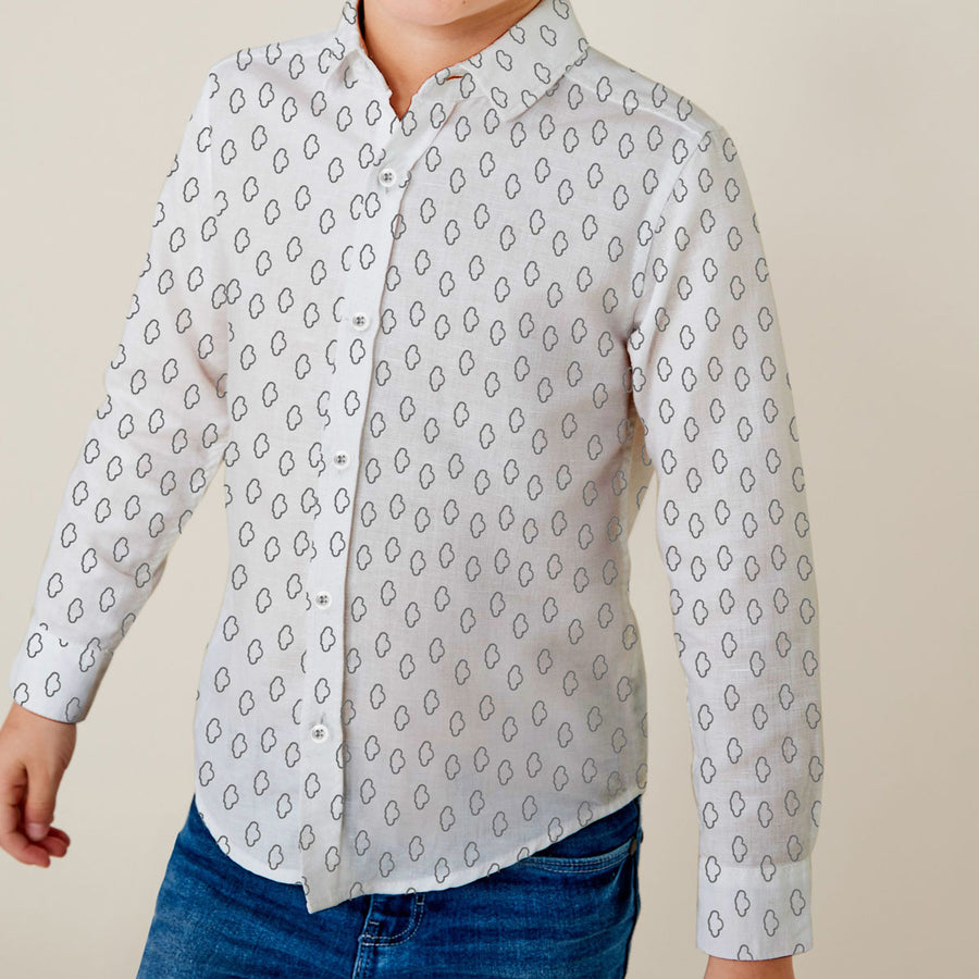 Printed White Boy's Casual Shirt