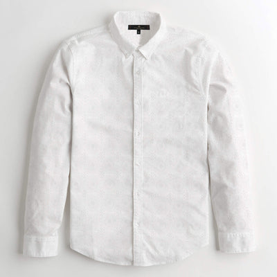 S/H White Self Printed Casual Shirt