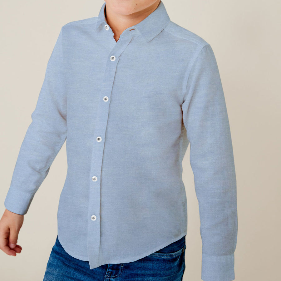 Boy's Sky Blue Solid Casual Shirt