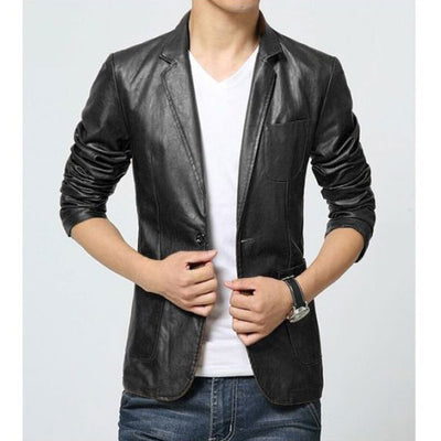 Mens Slim Fit Pu JACKET MC-Black