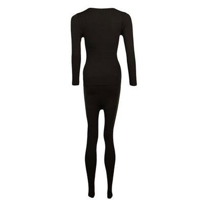 Espico Pack of 2 Polyester Lycra Thermal Suits for Women Skin & Black