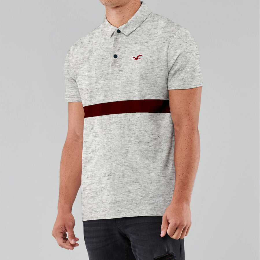 HLSTR Textured Grey Polo Shirt