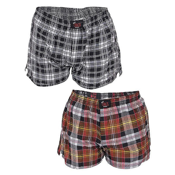 Grace Pack of 2 Cotton Boxer Shorts for Men Grey & Red