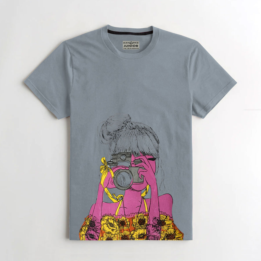 Cute Girl Graphic Printed Tee Shirt