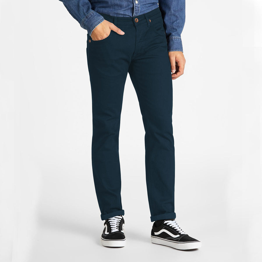Stretchy & Narrow Men Navy Cotton Jeans