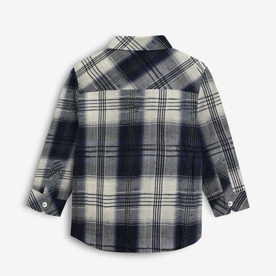 Contrast Check Boy's Casual Shirt