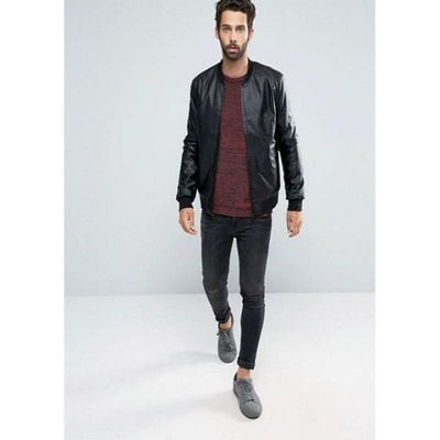 Mens Slim Fit Pu Leather Jacket M1