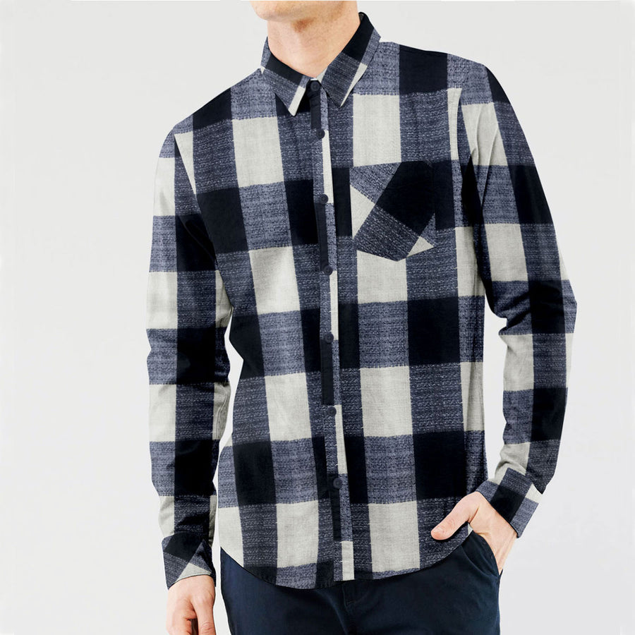 IRISH COTTON CONTRAST CHECK CASUAL SHIRT