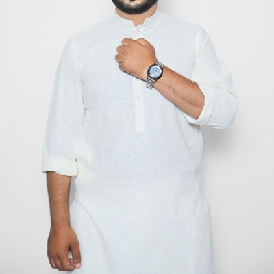 MENS OFF WHITE KHADDI COTTON KURTA