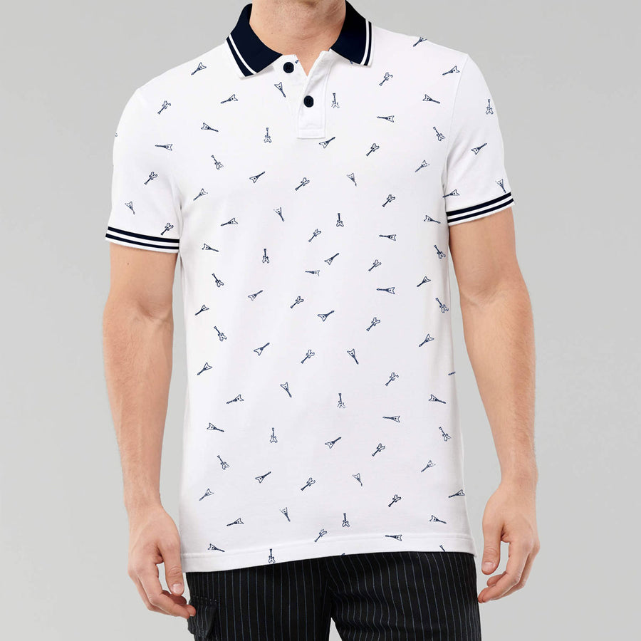 Printed White Tipping Polo