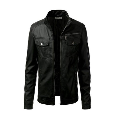 Mens Slim Fit Pu Leather Jacket Z1