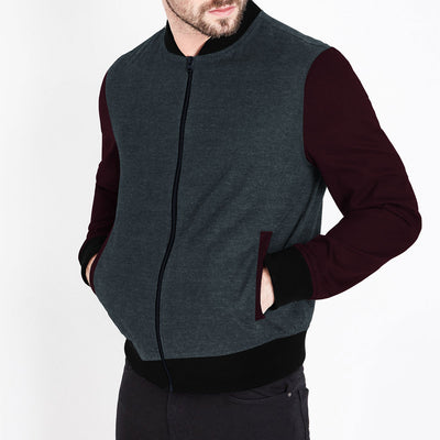 MEN CONTRAST SLEEVES FLEECE JACKET