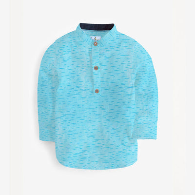 Self Printed Ferozi Blue Kurta Casual Shirt