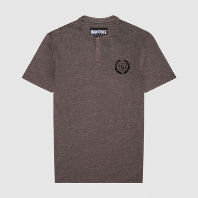 HG Textured Brown Banned Collar Tee Shirt