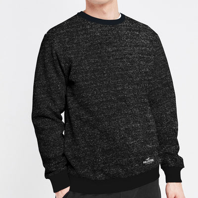 HLSTR Textured Black Solid Sweat Shirt