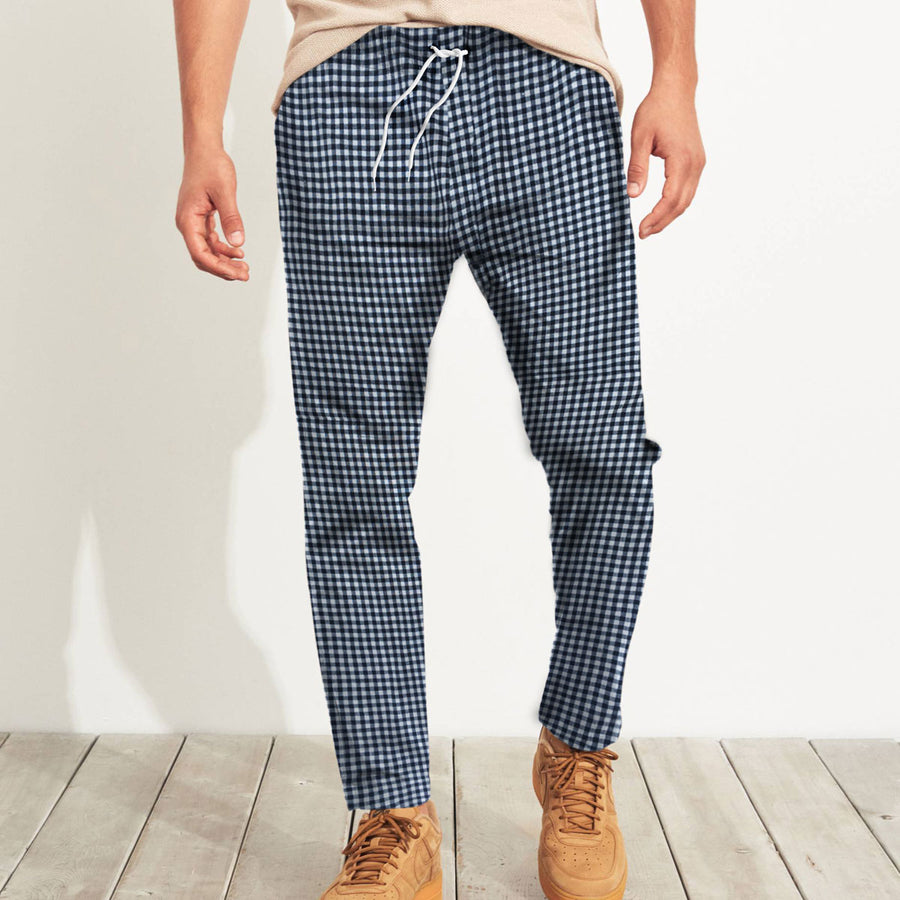 Black White Check Cotton Trouser