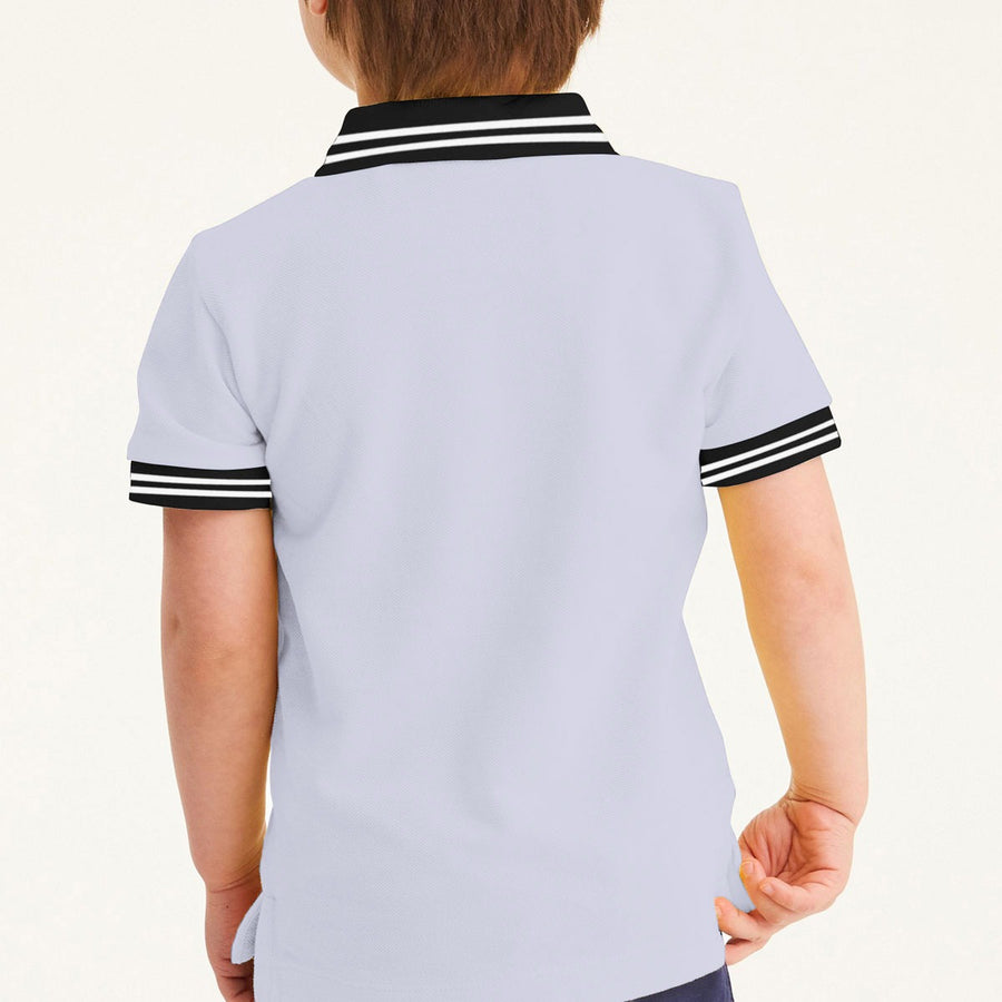 Boy's Octopus Printed Tipping Collar Polo Shirt