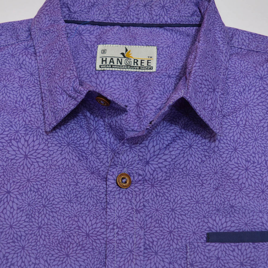 Exclusive Printed Purple Casual Shirt