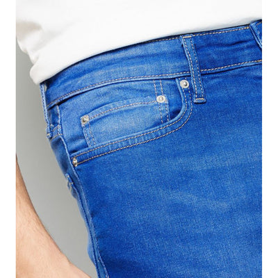 NW LOOK MID WASH BLUE SKINNY STRETCH JEANS for Men