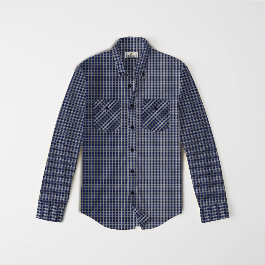 frieze blue check shirt