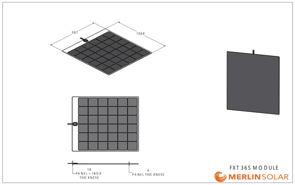 4thD Solar FX36S 165 Watt Solar Panel- Low Profile Junction, Solar Panel,4thDsolar