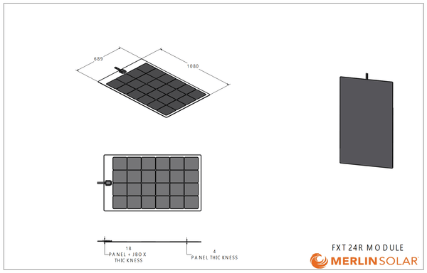 4thD Solar FX24R 110 Watt Solar Panel- Low Profile Junction, Solar Panel,4thDsolar