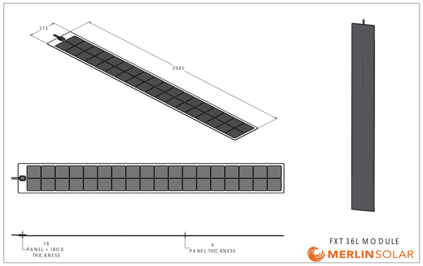 4thD Solar FX36L 165 Watt Solar Panel- Low Profile Junction, Solar Panel,4thDsolar