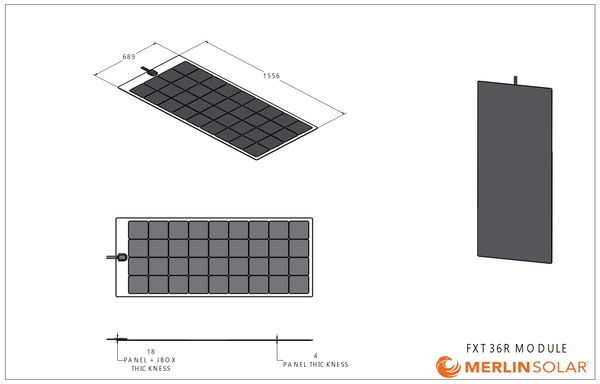 4thD Solar FX36R 165 Watt Solar Panel- Low Profile Junction, Solar Panel,4thDsolar